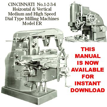 Cincinnati Milling Machine Co Manuals
